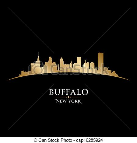 Vector Illustration of Buffalo New York city skyline silhouette.