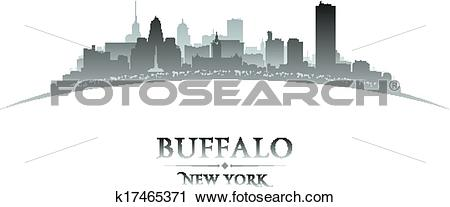 Clipart of Buffalo New York city skyline silhouette white.