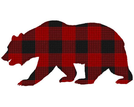 Plaid Bear Digital Print.