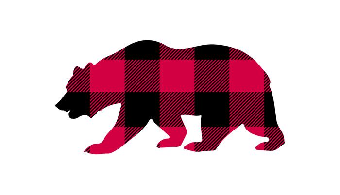 Buffalo Plaid Bear Pillow Sham.