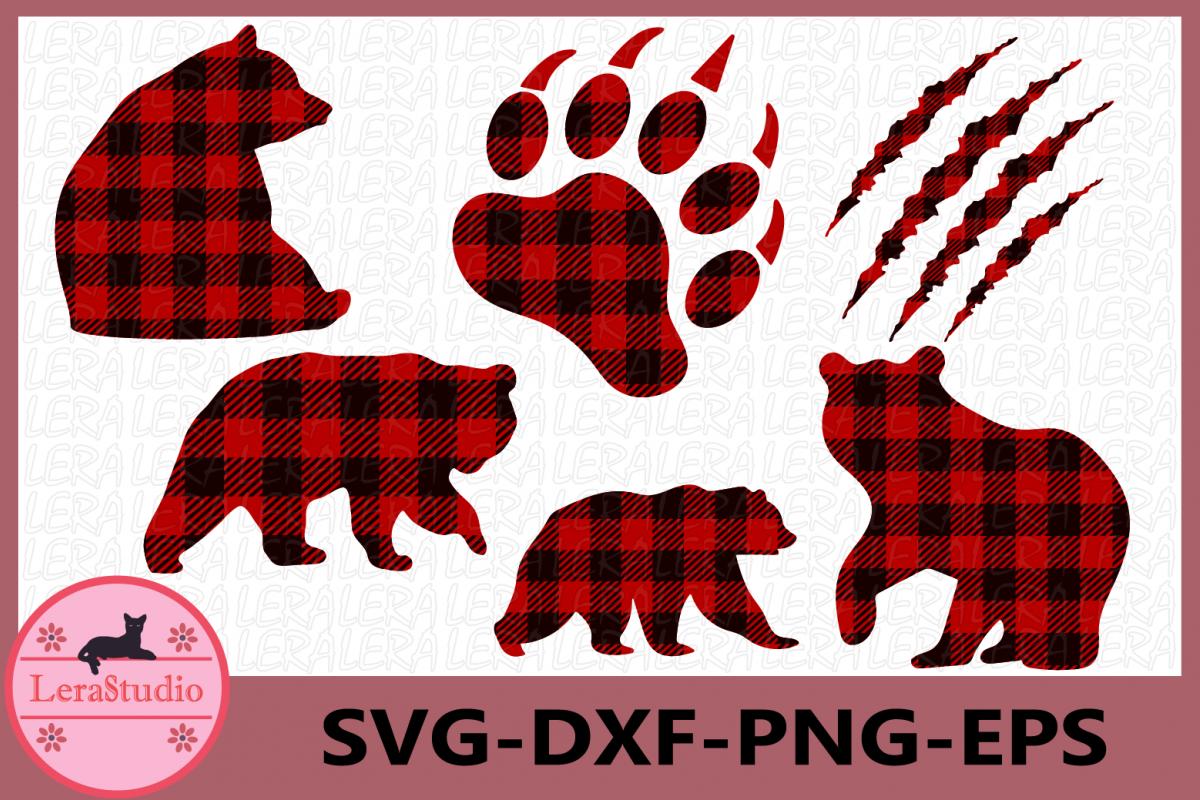 Bear Buffalo Plaid Svg, Bear Paw Cut Files, Bear svg.