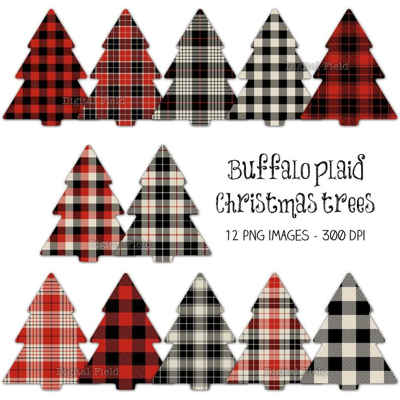 Buffalo plaid Christmas tree clip art set.
