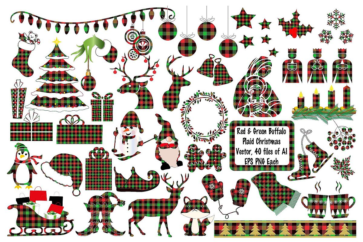 Christmas Buffalo Plaid Elements Deer AI EPS Vecor & PNG.