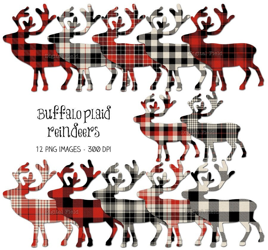Buffalo plaid Christmas reindeer clip art set.
