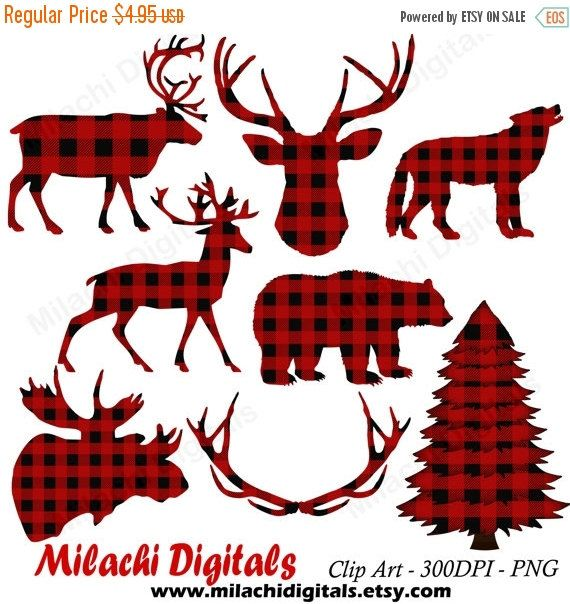 Buffalo plaid clipart, lumberjack clipart, vector graphics, animal.