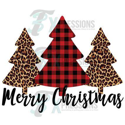 Screen Printed Transfers Merry Christmas, Leopard and Buffalo Plaid.