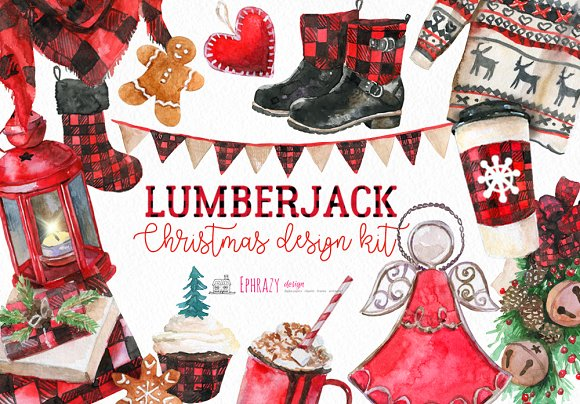 Christmas clipart. Buffalo plaid.