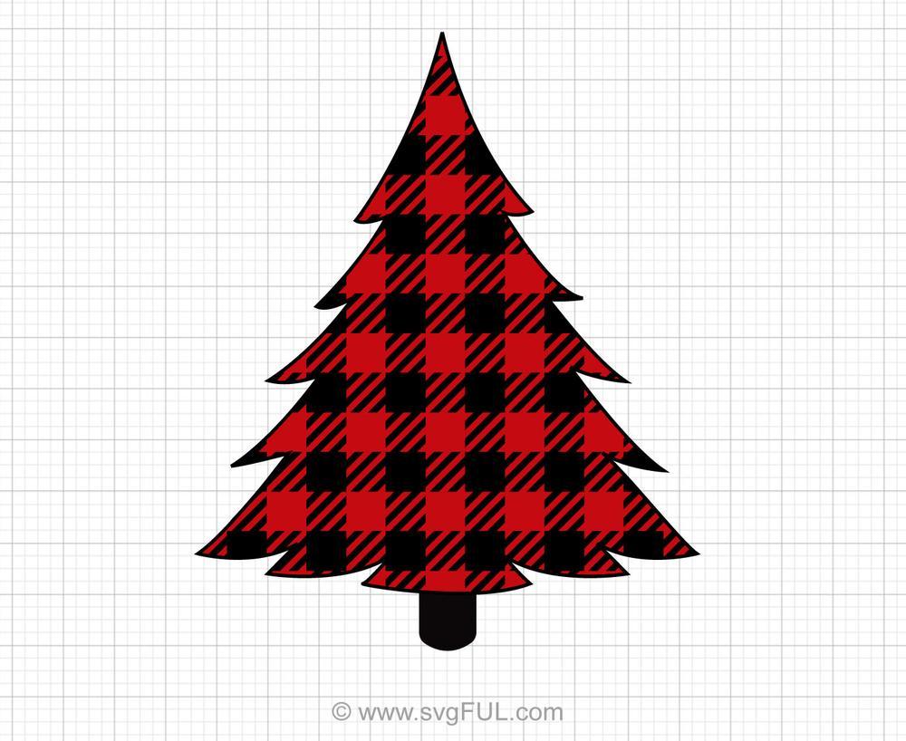 Buffalo Plaid Christmas Tree Svg Clipart.