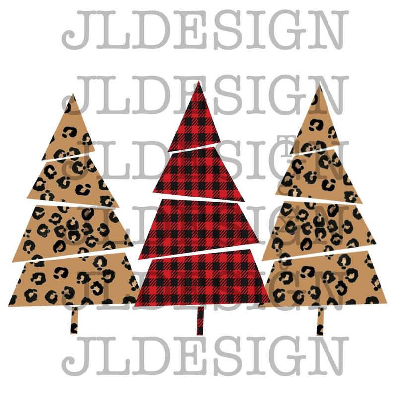 Leopard Buffalo Plaid Christmas Trees Digital Download Christmas PNG  Christmas Digital file sublimation design Clipart Instant download.