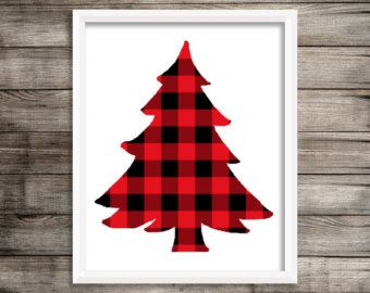 8x10 Red Buffalo Plaid Christmas Tree Printable and Instant Download.