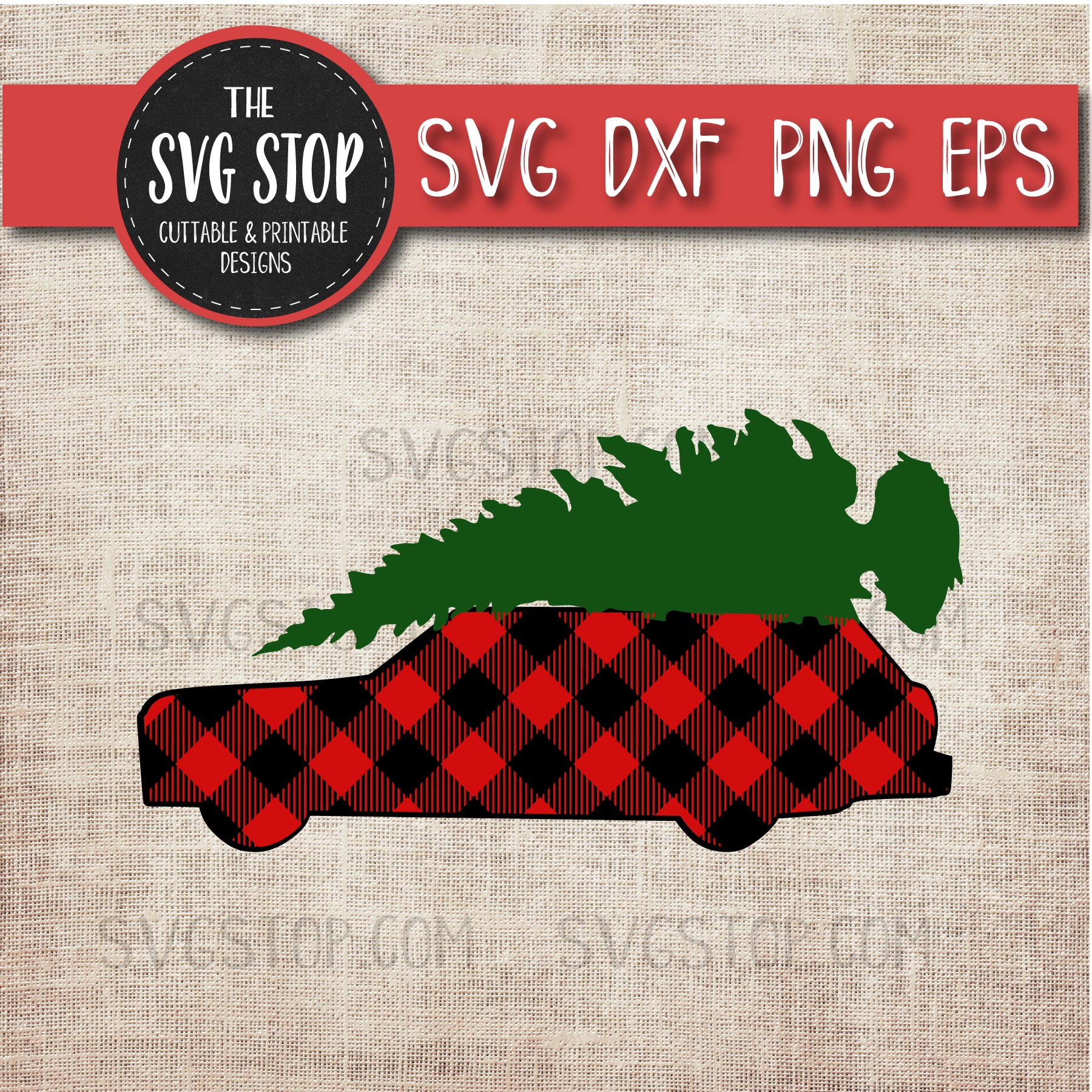 Buffalo Plaid Station Wagon With Tree.