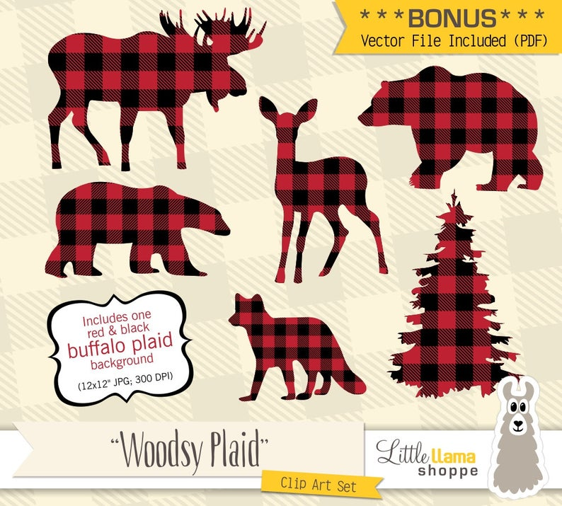Buffalo Plaid Clipart, Animal Silhouette Clip Art, Vector Lumberjack  Images, Moose Deer Silhouette, Lumberjack Clip art, Fox.
