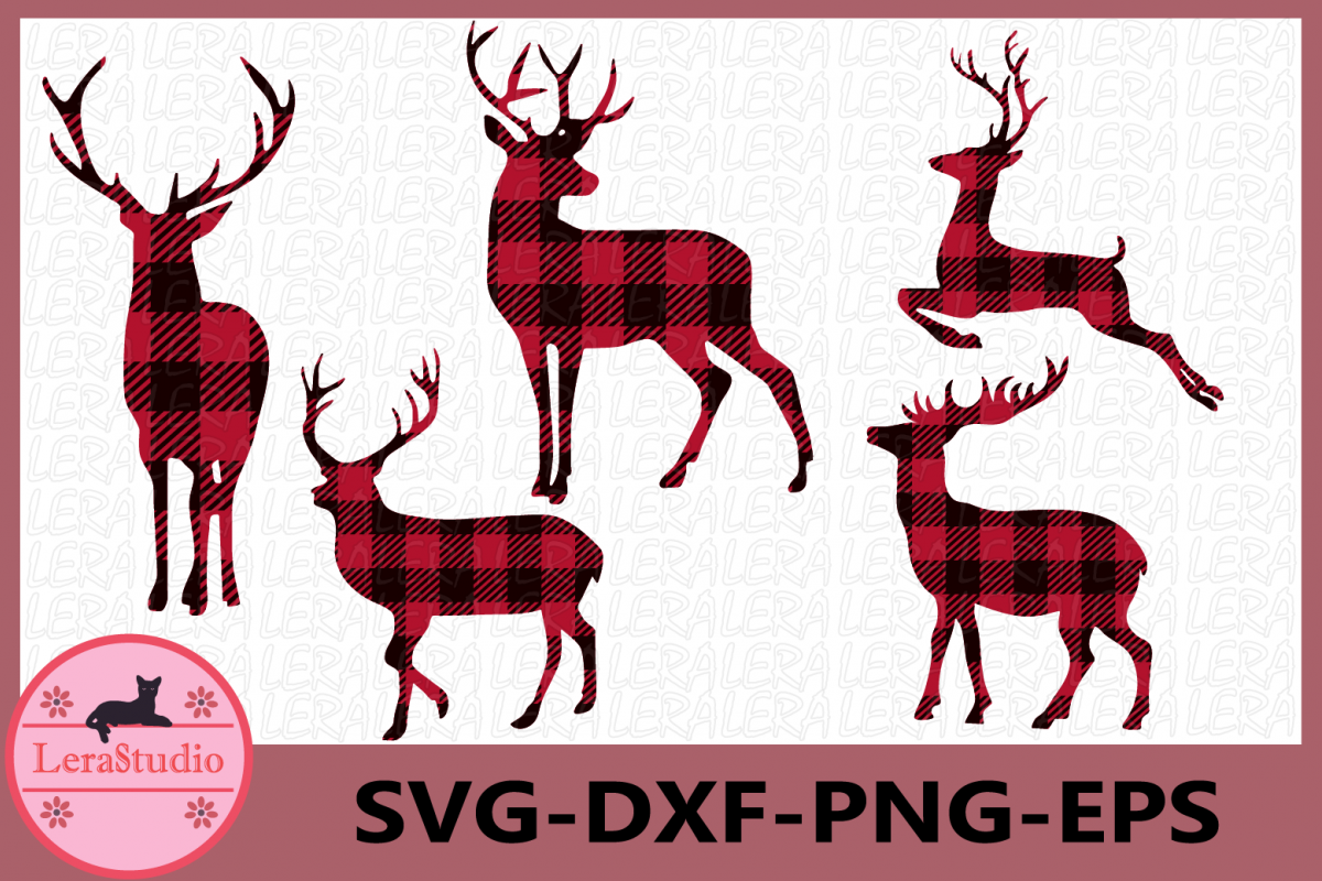 Deer Buffalo Plaid Svg, Deer SVG Files, Deer Clipart, Deer.