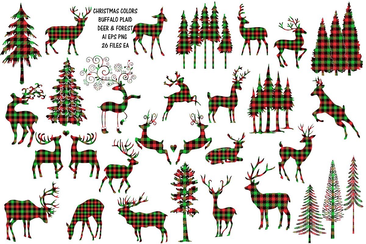 Christmas Buffalo Plaid Deer/Forest.