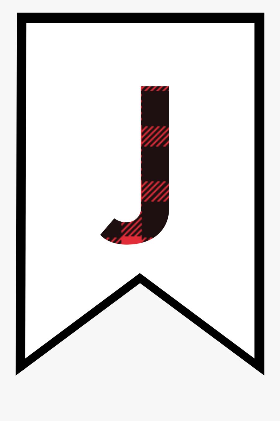 J Buffalo Plaid Banner Letter.