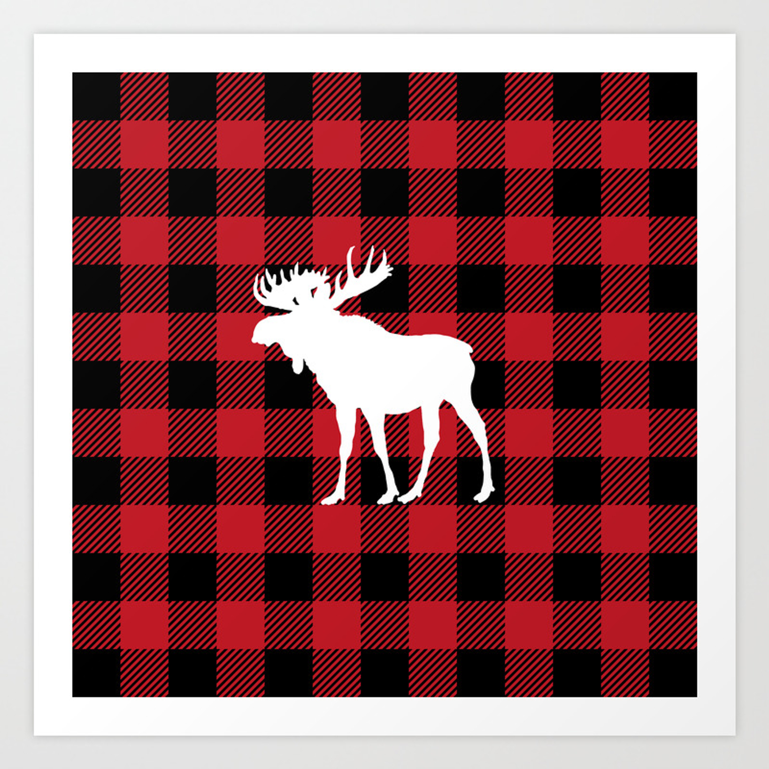 Red Buffalo Plaid Moose Art Print.