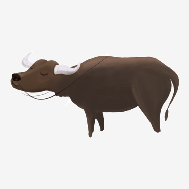 Hand Drawn Cartoon Big Buffalo Png Element, Buffalo, Animal, Png.