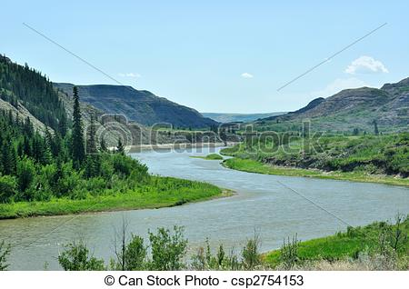 Stock Photos of RED DEER RIVER FLOWING THROUGH DRY ISLAND BUFFALO.