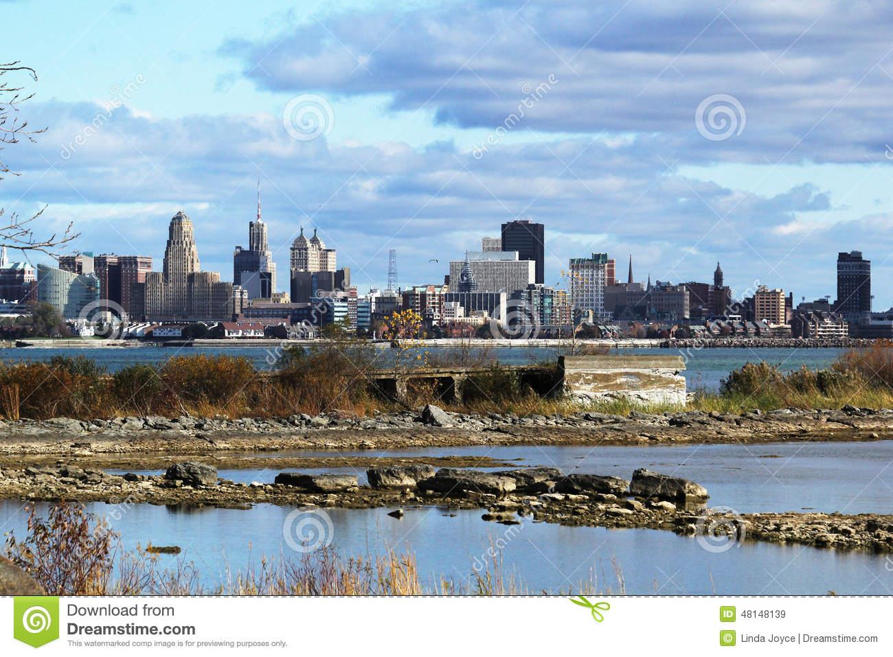 Buffalo Riverfront Cityscape Niagara River HDR Stock Photo.