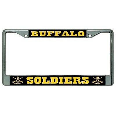 CAVALRY BUFFALO SOLDIERS logo military chrome license plate.