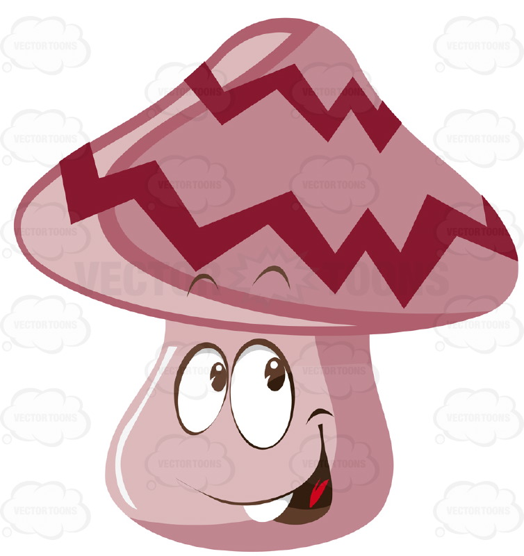 Happy Open Mouthed Mushroom With Zig Zag Stripes Cartoon Clipart.