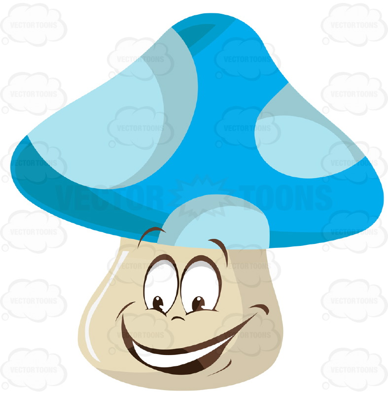 Blue And White Polka Dot Mushroom With Face Cartoon Clipart.