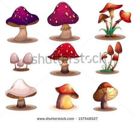 Cartoon Mushrooms Vector Set.