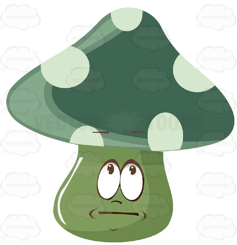 Green And White Polka Dot Mushroom With Concerned Face Cartoon Clipart.