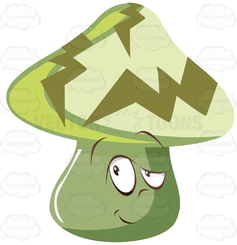 Green Mushroom With Sideways Glance Look And Green Lightning Bolt.