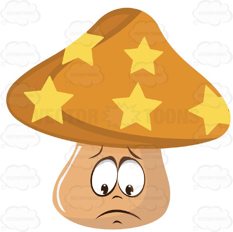 Orange And Yellow Star Mushroom With Sad Face Cartoon Clipart.