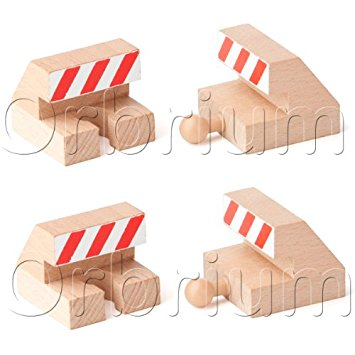 Amazon.com: Orbrium Toys Track End Bumper Buffer Stop Set Wooden.