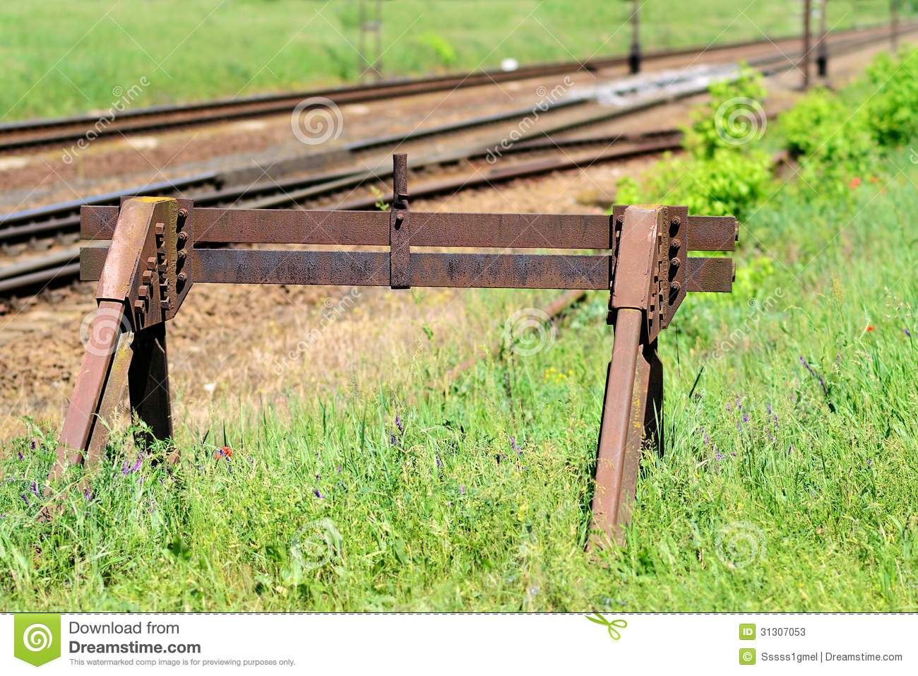 Railroad Buffer Stop Stock Photo.