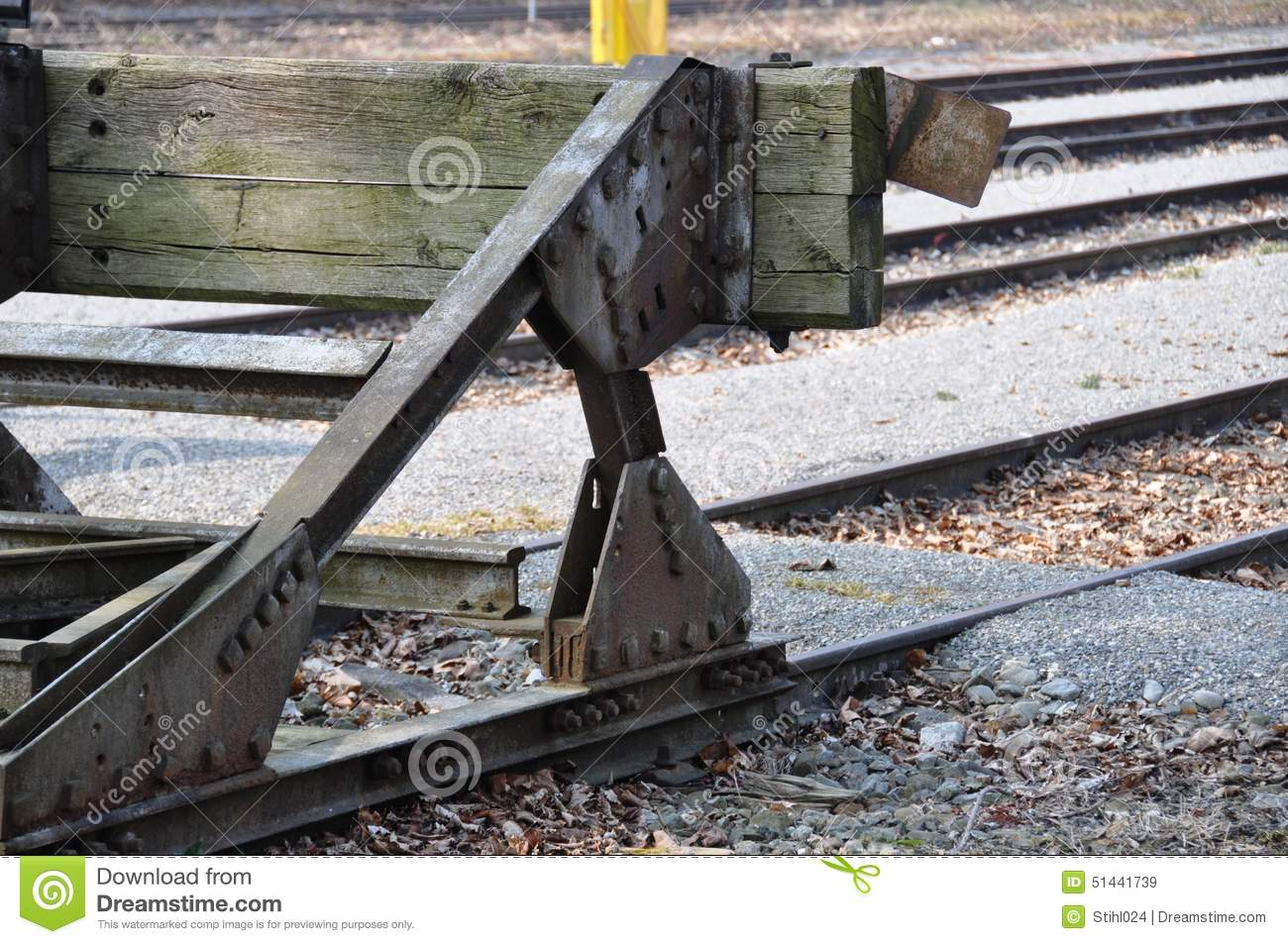 Rail Buffer Stop Stock Photo.