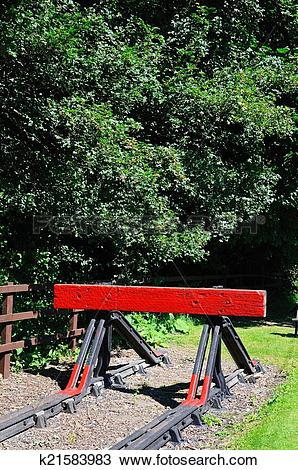 Stock Photo of Red railway buffer stop. k21583983.