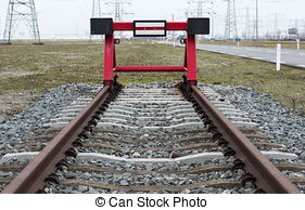 Stock Image of train buffer stop.