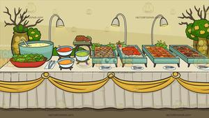 A Savory Food Buffet Table Background.