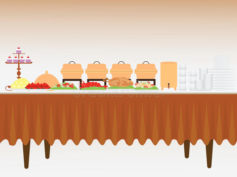 Buffet Table Stock Illustrations.