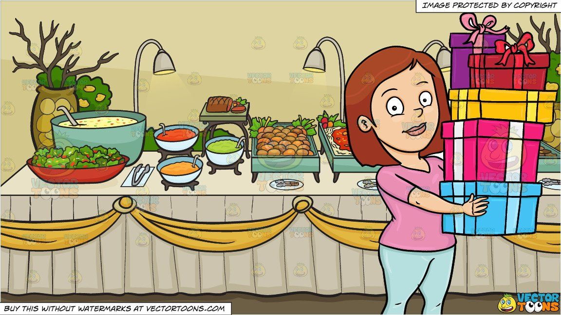 clipart #cartoon A Woman Carrying The Gifts She Has Bought and A.