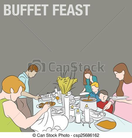 People in Buffet Line.