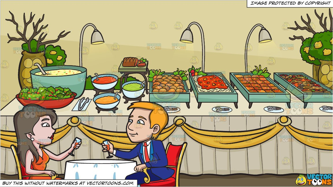 A Couple Celebrating Their Anniversary and A Savory Food Buffet Table  Background.
