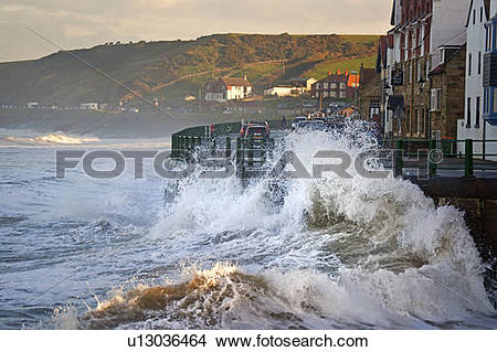 Stock Photo of England, North Yorkshire, Sandsend. Large waves.