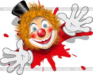 clown in white gloves.