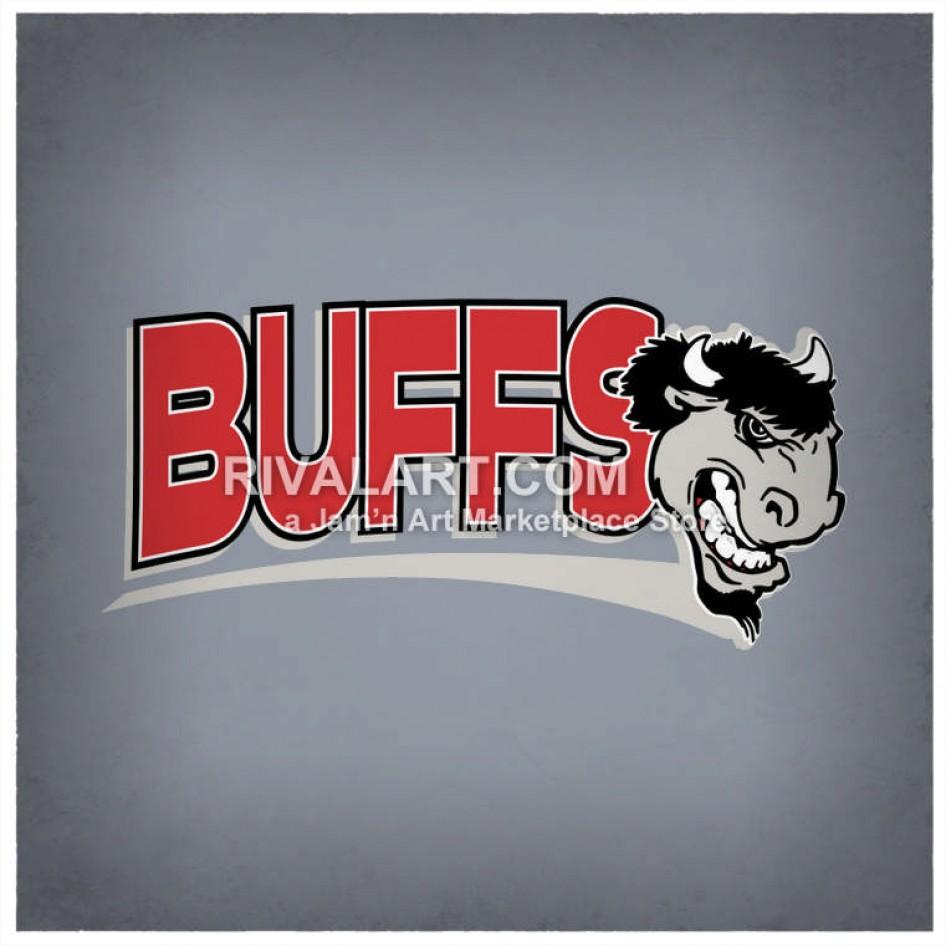 Buffs Text With Buffalo Head.