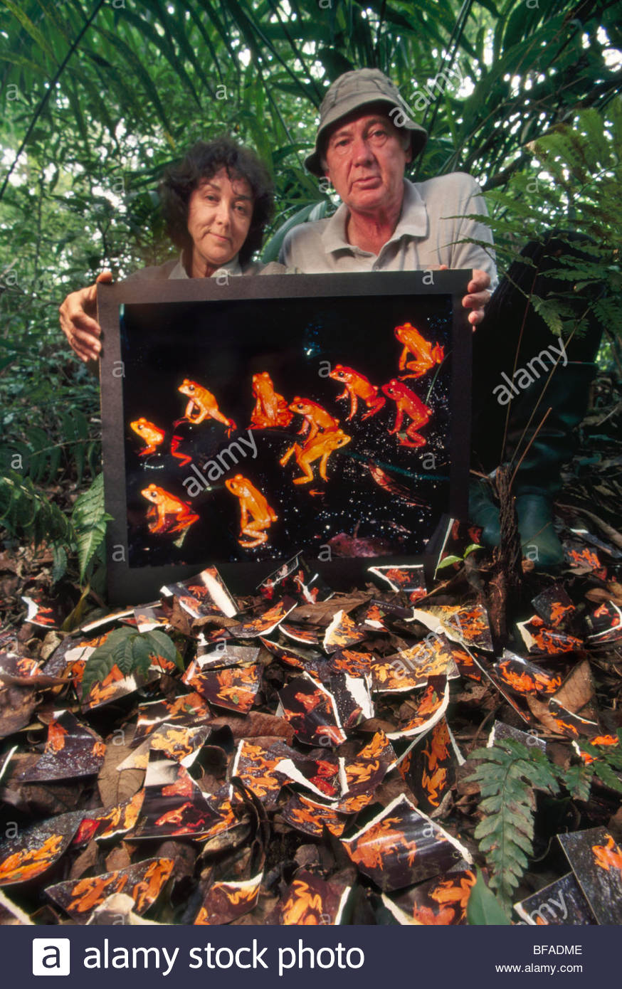 Micheal And Patricia Fogden With Print Of Extinct Golden Toad.