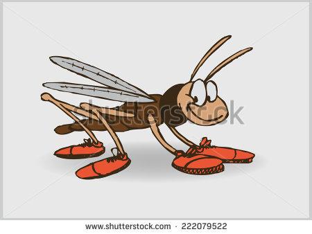 Happy Cartoon Grasshopper Shoes Vector Illustration Stock Vector.