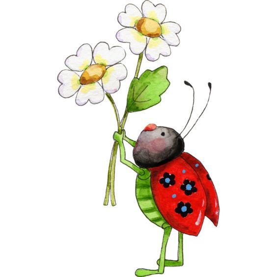 Lady Bug Flower.png ❤ liked on Polyvore featuring insects.