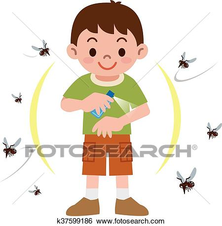 Boy to spray insect repellent Clip Art.