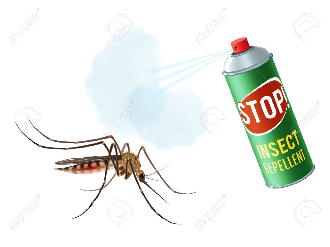 Realistic mosquito with insect repellent spray in dengerous diseases...