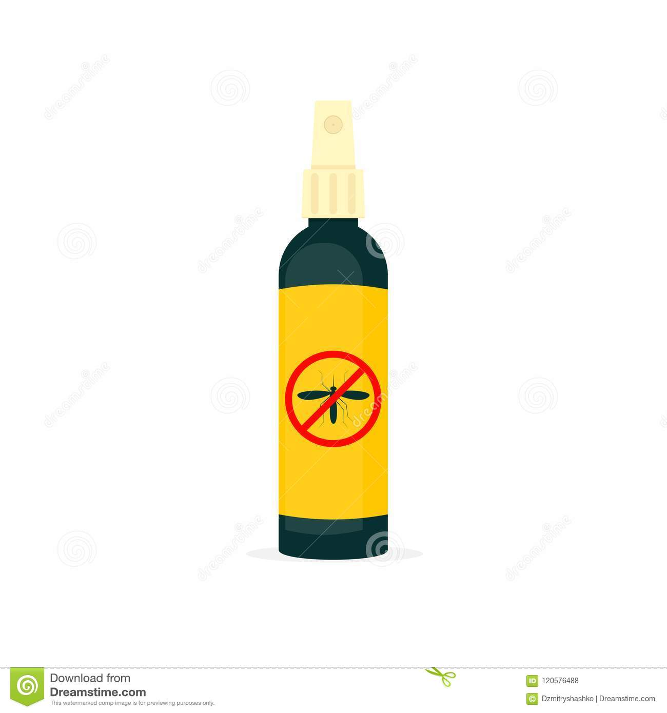 Mosquito Repellent Spray Bottle Stock Vector.