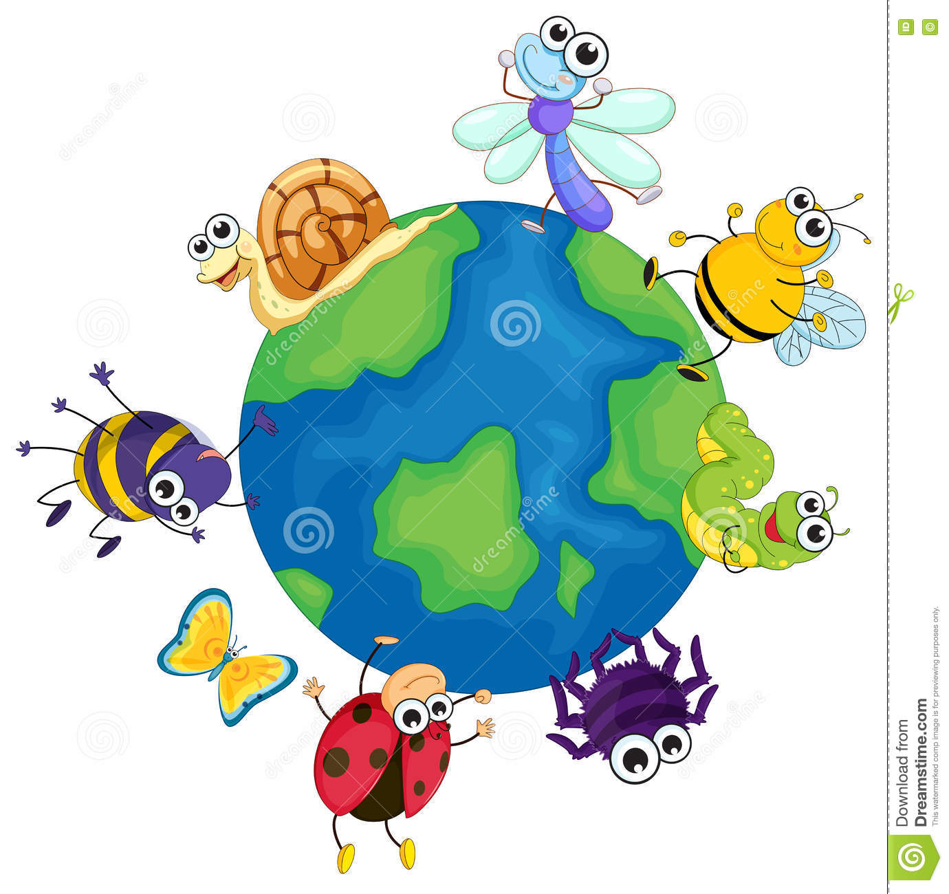 Different Bugs Around The World Stock Vector.